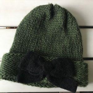 Anthropologie Green Wool Blend Hat W/Black Bow